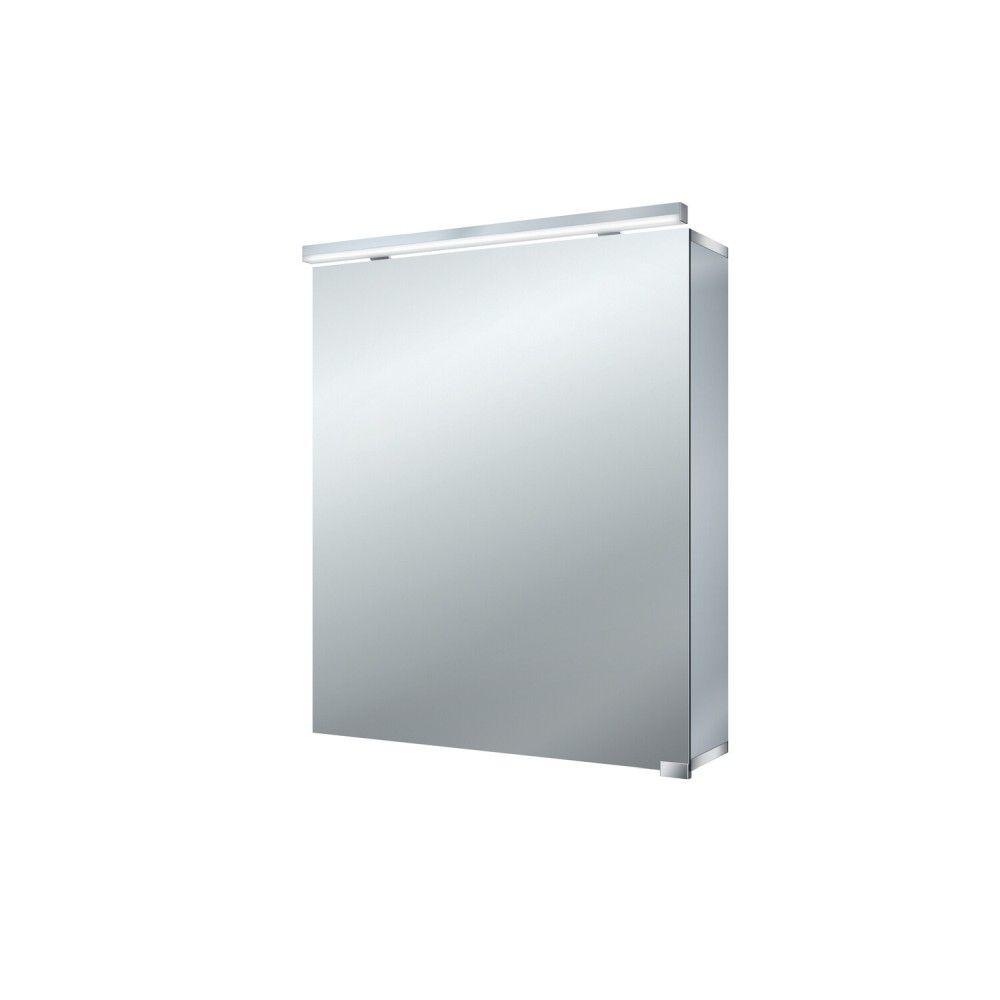 Emco Pure Lichtspiegelschrank B:60xH:72,8xT:17,8cm Aufputz 1-teilig mit Waschtischbeleuchtung aluminium 979705285