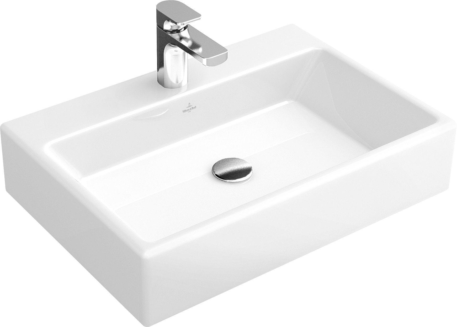 Villeroy & Boch Memento Aufsatzwaschtisch B:60xT:42xH:14cm 1 Hahnloch ohne Überlauf weiß mit Ceramicplus 513561R1