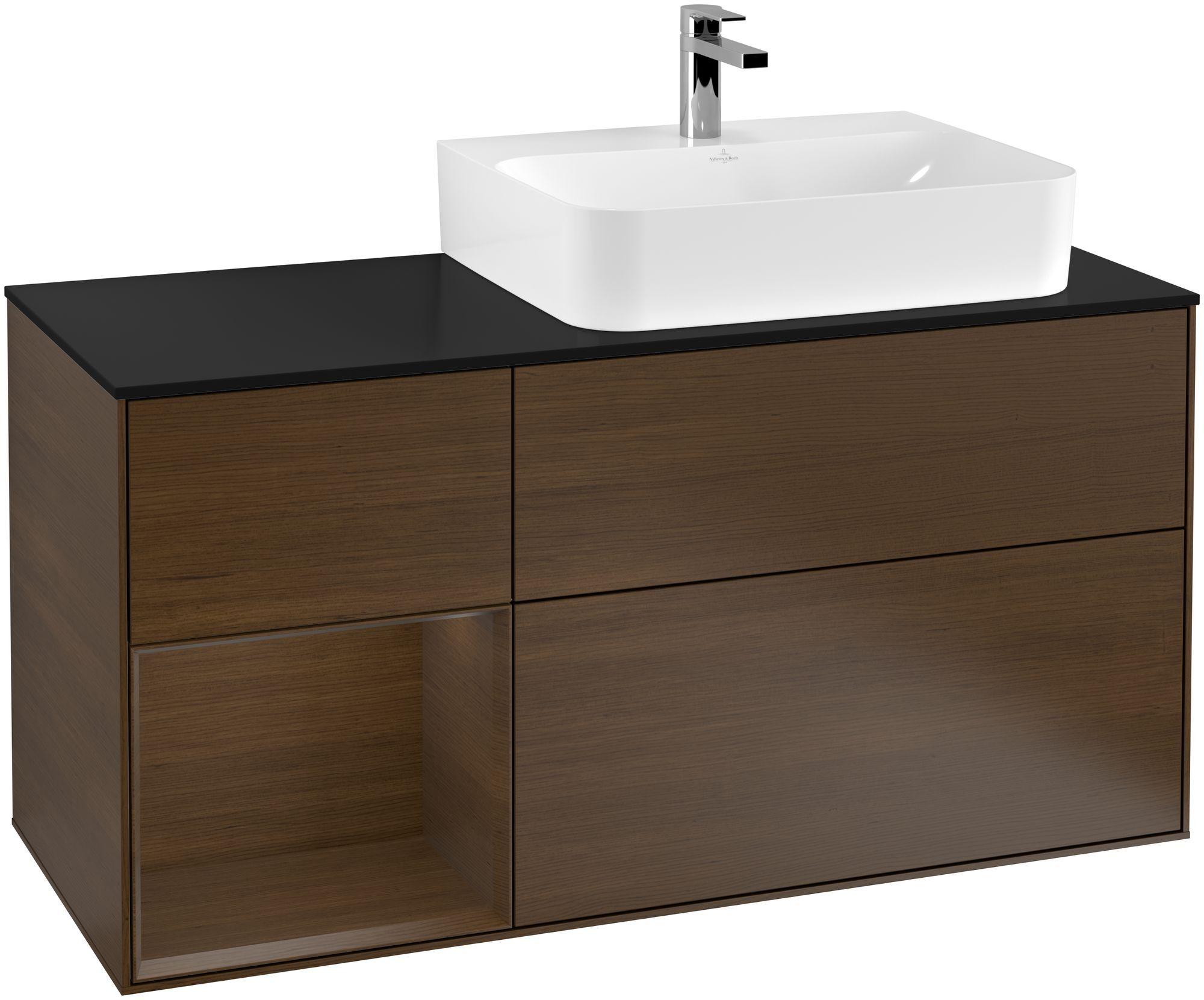 Villeroy & Boch Finion G14 Waschtischunterschrank mit Regalelement 3 Auszüge Waschtisch rechts LED-Beleuchtung B:120xH:60,3xT:50,1cm Front, Korpus: Walnut Veneer, Glasplatte: Black Matt G142GNGN