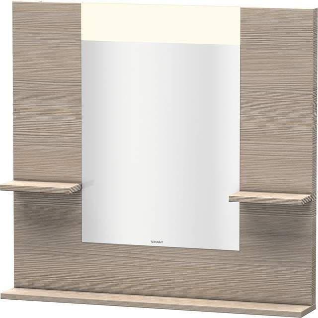 Duravit Vero Spiegel mit LED-Beleuchtung B:85xH:80xT:14,2cm mit Ablagen rechts links und unten pine silver VE735003131