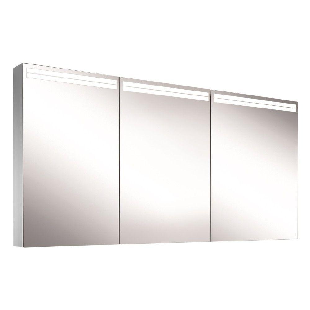 Schneider Spiegelschrank ARANGA Line 150/3/GT/TW B:150xH:70xT:12cm mit Beleuchtung mit Accessoire-Box und Kosmetikspiegel eloxiert 160.551.02.50