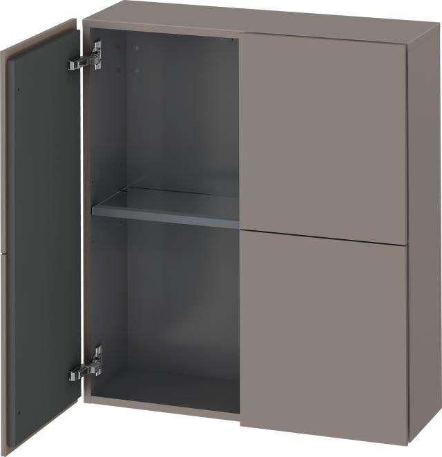 Duravit L-Cube Halbhochschrank B:70xH:80xT:24,3cm 2 Türen basalt matt LC116704343