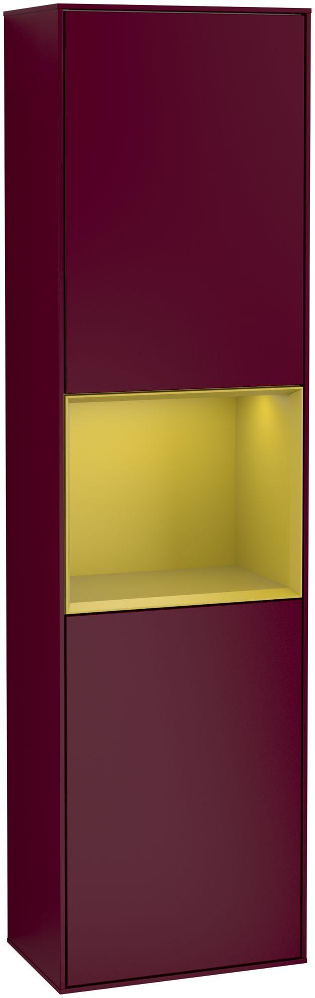 Villeroy & Boch Finion G47 Hochschrank mit Regalelement 2 Türen Anschlag rechts LED-Beleuchtung B:41,8xH:151,6xT:27cm Front, Korpus: Peony, Regal: Sun G470HEHB