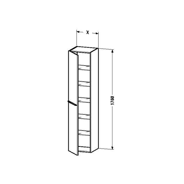 Duravit X-Large Hochschrank B:50xH:176xT:35,8 cm mit 1 Tür Türanschlag links basalt matt XL1137L4343