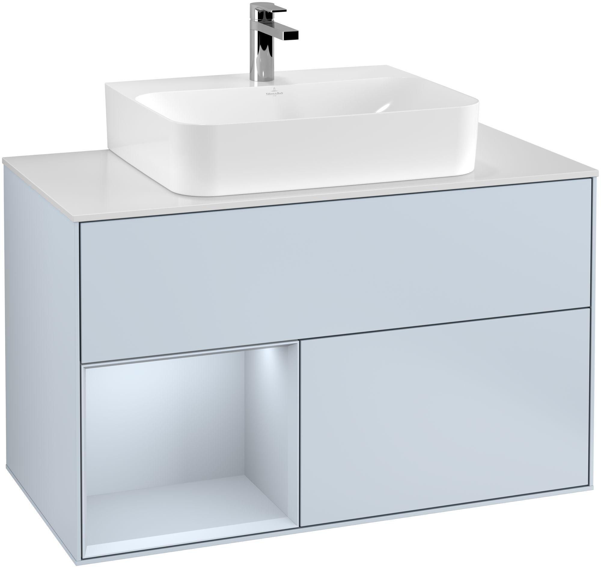 Villeroy & Boch Finion F11 Waschtischunterschrank mit Regalelement 2 Auszüge Waschtisch mittig LED-Beleuchtung B:100xH:60,3xT:50,1cm Front, Korpus: Cloud, Glasplatte: White Matt F111HAHA