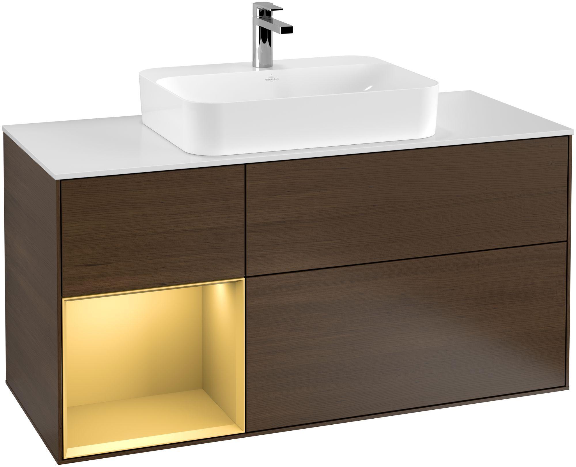 Villeroy & Boch Finion G41 Waschtischunterschrank mit Regalelement 3 Auszüge Waschtisch mittig LED-Beleuchtung B:120xH:60,3xT:50,1cm Front, Korpus: Walnut Veneer, Regal: Gold Matt, Glasplatte: White Matt G411HFGN