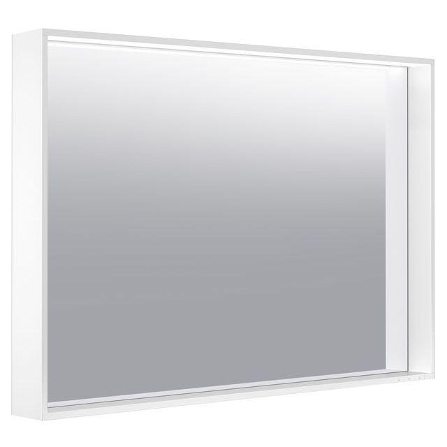 Keuco X-LINE LED-Lichtspiegel warmweiß B:100xH:70xT:10,5 cm trüffel seidenmatt 33296143000
