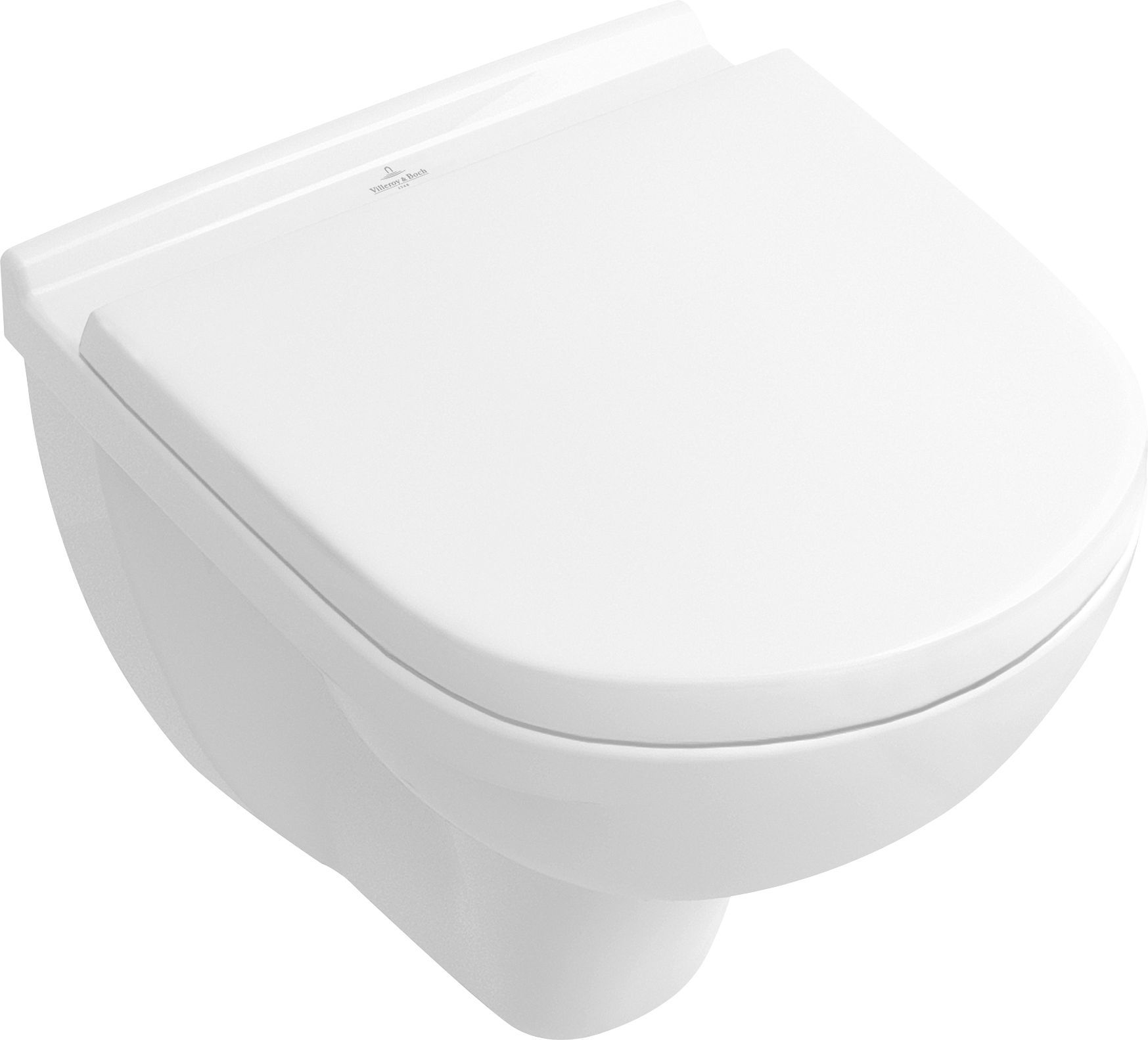 Villeroy & Boch O.novo Combi-Pack mit Tiefspül-Wand-WC Compact L:49xB:36cm weiß mit CeramicPlus mit WC-Sitz mit Absenkautomatik 5688H1R1