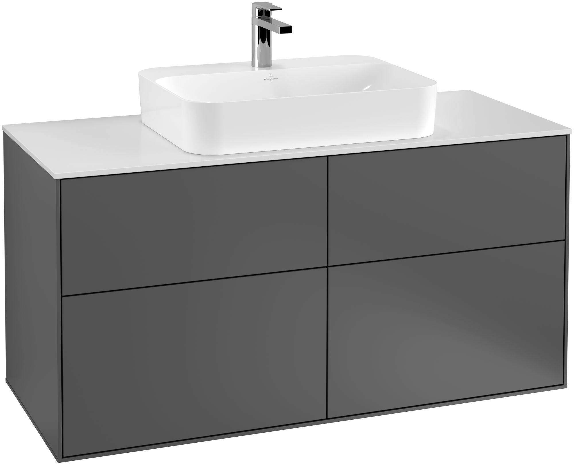 Villeroy & Boch Finion G38 Waschtischunterschrank 4 Auszüge Waschtisch mittig LED-Beleuchtung B:120xH:60,3xT:50,1cm Front, Korpus: Anthracite Matt, Glasplatte: White Matt G38100GK