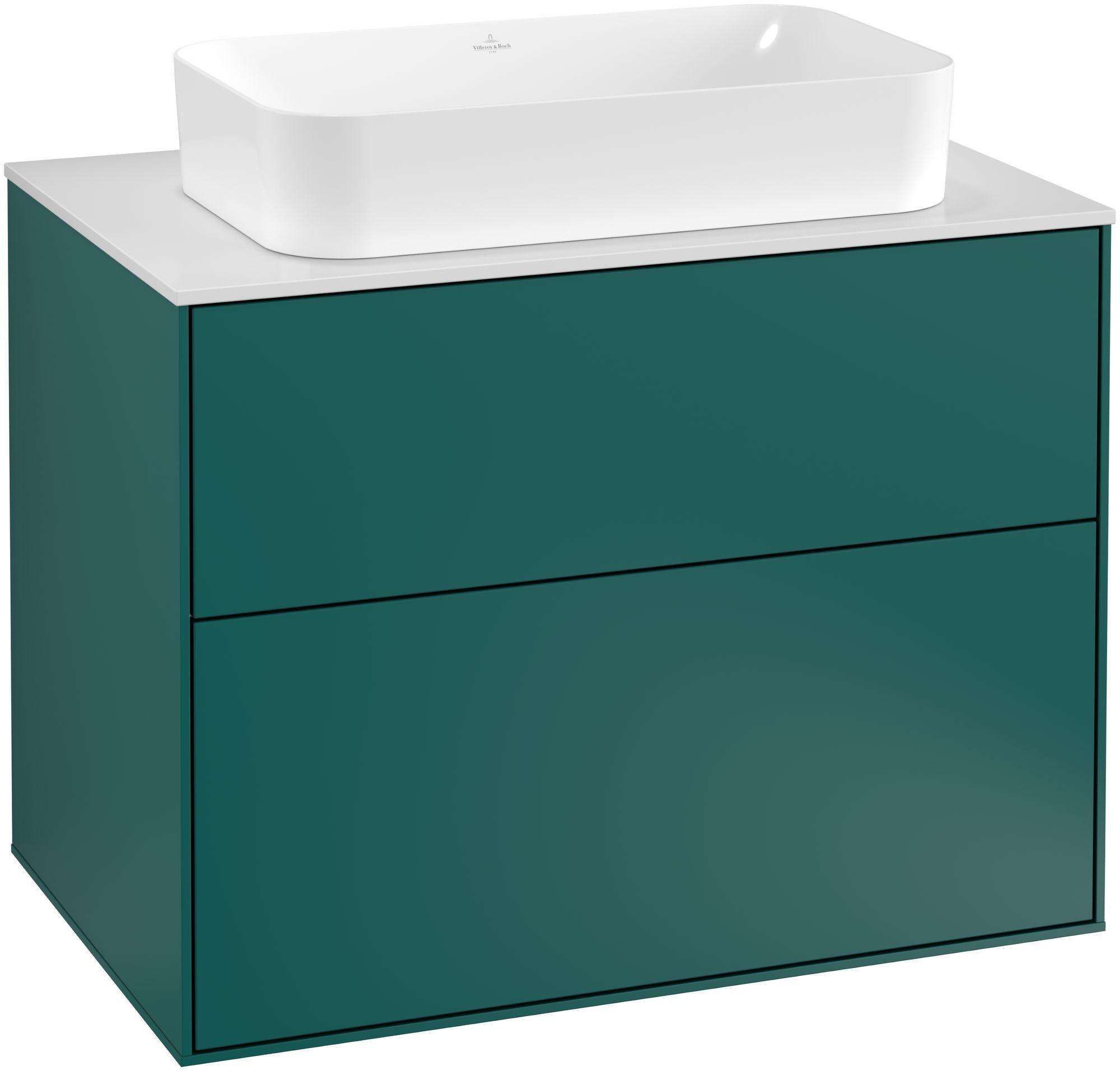 Villeroy & Boch Finion F22 Waschtischunterschrank 2 Auszüge B:80xH:60,3xT:50,1cm Front, Korpus: Cedar, Glasplatte: White Matt F22100GS