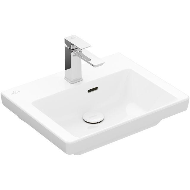 Villeroy & Boch Subway 3.0 Handwaschbecken 50x40cm rechteckig 1 Hahnloch mit Überlauf Weiß mit CeramicPlus 437050R1