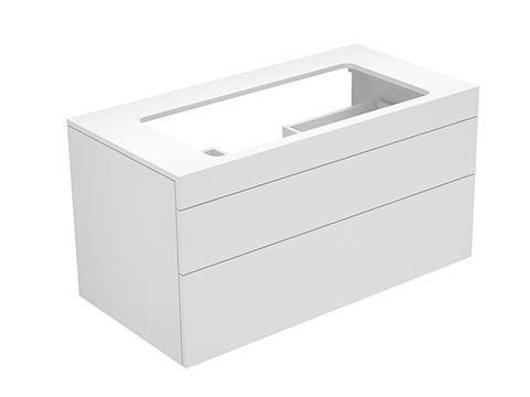 Keuco Edition 400 Waschtischunterbau ohne Hahnlochbohrung 2 Auszüge 1050 x 546 x 535 mm weiß hochglanz/Glas titan klar 31582960000