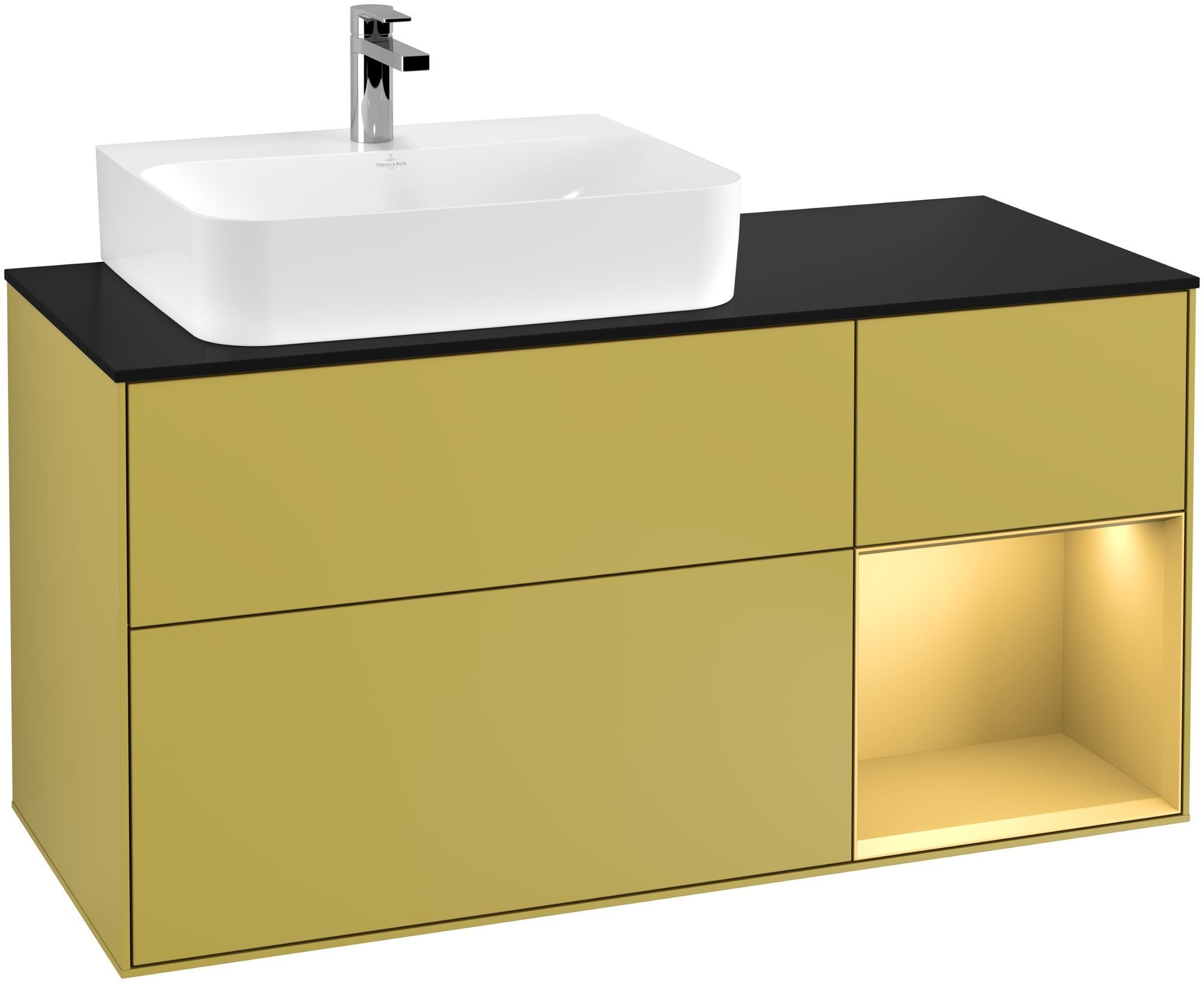 Villeroy & Boch Finion G15 Waschtischunterschrank mit Regalelement 3 Auszüge Waschtisch links LED-Beleuchtung B:120xH:60,3xT:50,1cm Front, Korpus: Sun, Regal: Gold Matt, Glasplatte: Black Matt G152HFHE