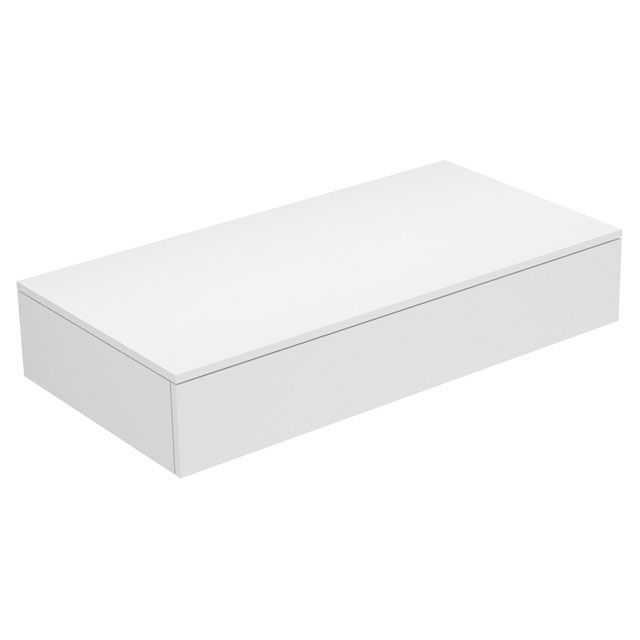 Keuco Edition 400 Sideboard wandhängend 1 Frontauszug 1050 x 199 x 535 mm weiß hochglanz/Glas cashmere klar 31750840000