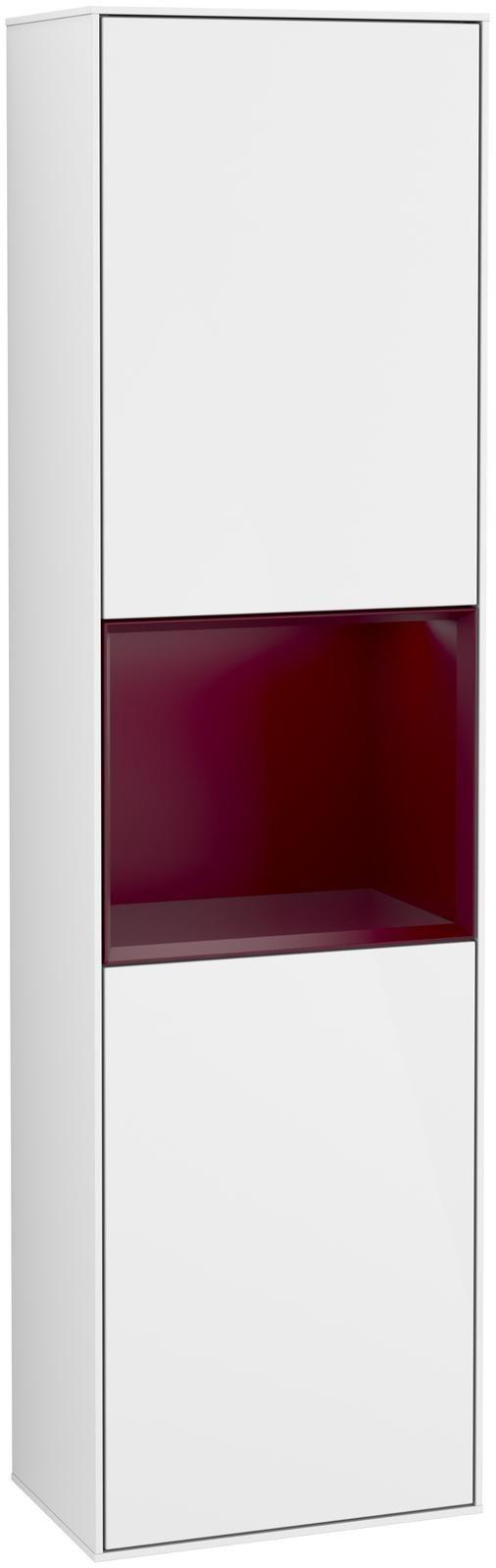 Villeroy & Boch Finion F46 Hochschrank mit Regalelement 2 Türen Anschlag links LED-Beleuchtung B:41,8xH:151,6xT:27cm Front, Korpus: Glossy White Lack, Regal: Peony F460HBGF