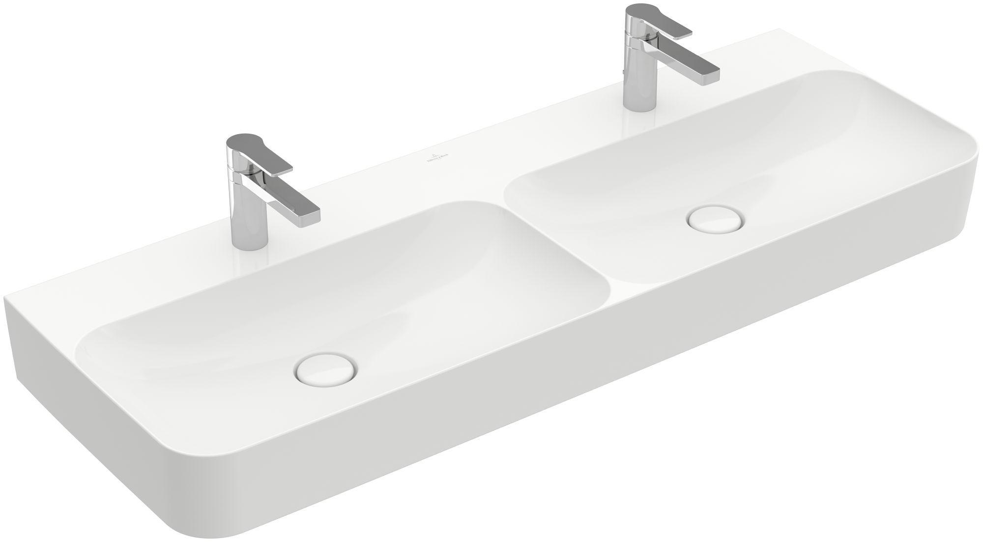 Villeroy & Boch Finion Doppelwaschtisch ohne Überlauf 2x1 Hahnloch B:130xT:47cm ohne Überlauf 2x1 Hahnloch weiß Ceramicplus 4139DGR1