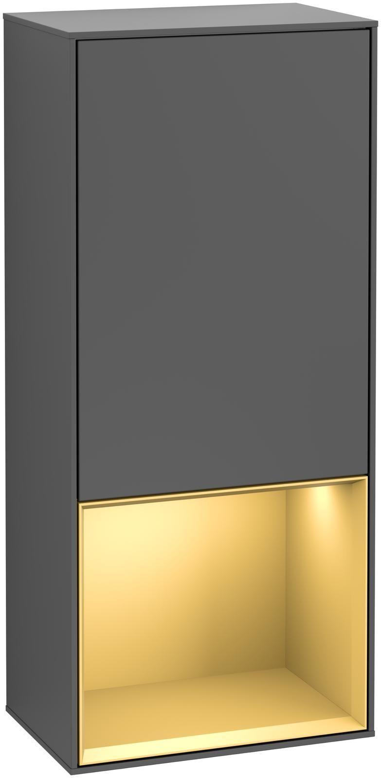 Villeroy & Boch Finion G55 Seitenschrank mit Regalelement 1 Tür Anschlag rechts LED-Beleuchtung B:41,8xH:93,6xT:27cm Front, Korpus: Anthracite Matt, Regal: Gold Matt G550HFGK