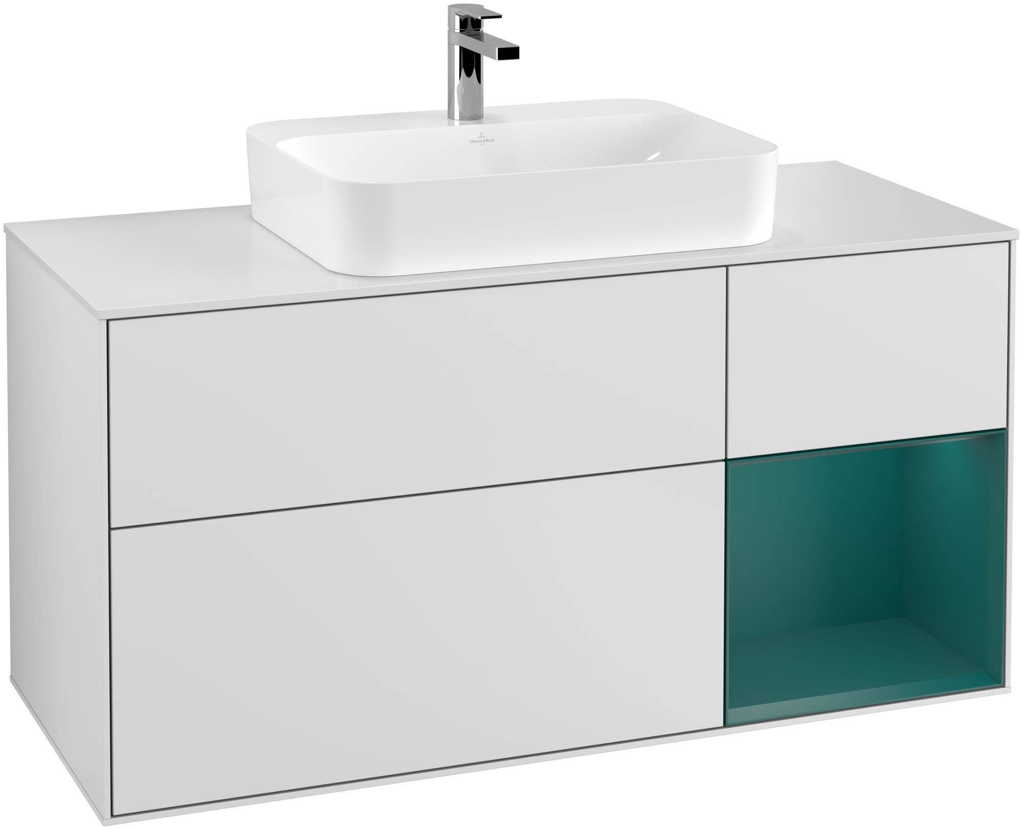 Villeroy & Boch Finion G42 Waschtischunterschrank mit Regalelement 3 Auszüge Waschtisch mittig LED-Beleuchtung B:120xH:60,3xT:50,1cm Front, Korpus: Weiß Matt Soft Grey, Regal: Cedar, Glasplatte: White Matt G421GSMT