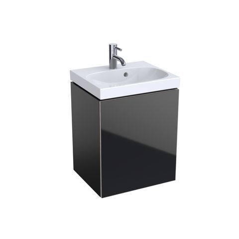 Geberit Keramag Acanto Handwaschbecken-Unterschrank B:44,6 x H:53,4 x T:37,6 cm Korpus: schwarz matt, Front Glas schwarz 500608161