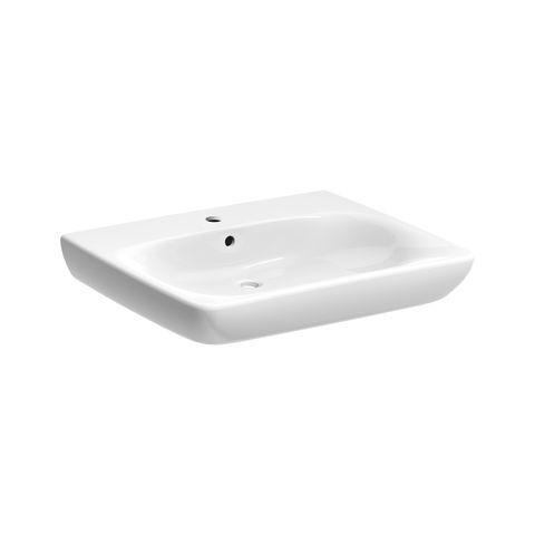 Geberit Keramag Renova Comfort Waschtisch Breite 65cm unterfahrbar mit Hahnloch mit Überlauf weiß mit KeraTect 258565600