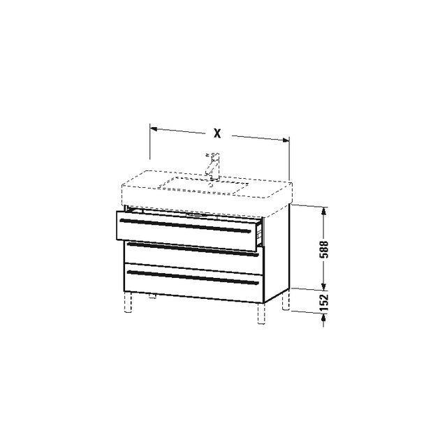 Duravit X-Large Waschtischunterschrank wandhängend B:80xH:58,8xT:47 cm mit 3 Schubkästen weiß hochglanz XL655302222