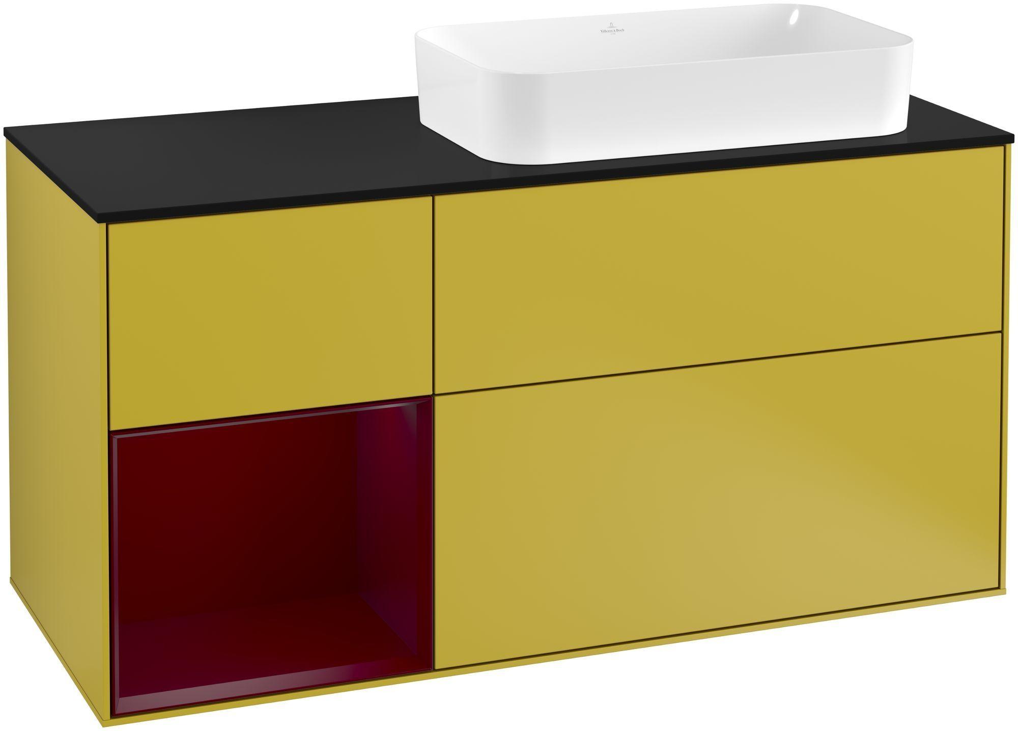 Villeroy & Boch Finion G27 Waschtischunterschrank mit Regalelement 3 Auszüge Waschtisch rechts LED-Beleuchtung B:120xH:60,3xT:50,1cm Front, Korpus: Sun, Regal: Peony, Glasplatte: Black Matt G272HBHE
