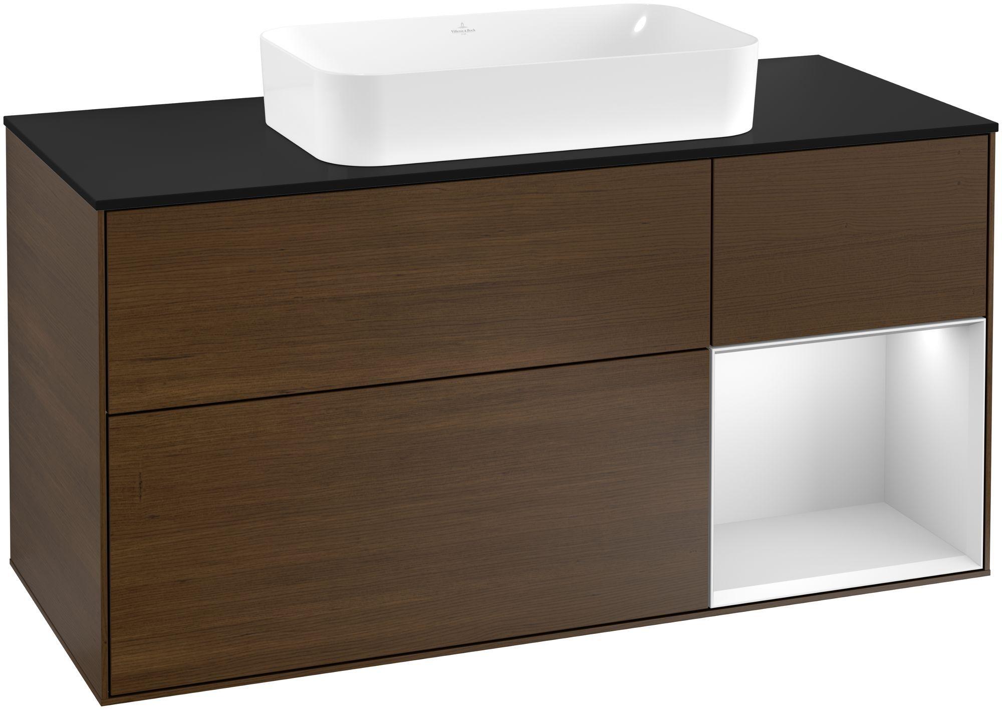 Villeroy & Boch Finion F30 Waschtischunterschrank mit Regalelement 3 Auszüge Waschtisch mittig LED-Beleuchtung B:120xH:60,3xT:50,1cm Front, Korpus: Walnut Veneer, Regal: Weiß Matt Soft Grey, Glasplatte: Black Matt F302MTGN