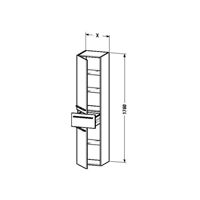 Duravit X-Large Hochschrank B:30xH:176xT:35,8 cm mit 2 Türen Türanschlag links mit 1 Schubkasten amerikanischer nussbaum XL1128L1313