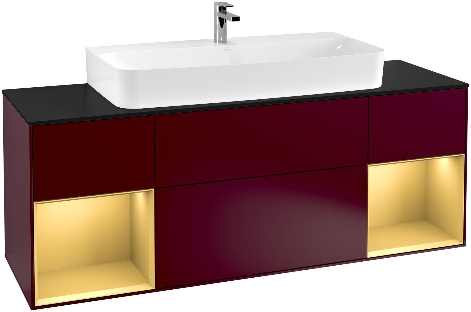 Villeroy & Boch Finion F21 Waschtischunterschrank mit Regalelement 4 Auszüge Waschtisch mittig LED-Beleuchtung B:160xH:60,3xT:50,1cm Front, Korpus: Peony, Regal: Gold Matt, Glasplatte: Black Matt F212HFHB
