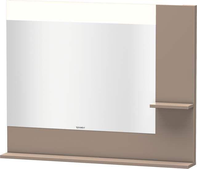 Duravit Vero Spiegel mit LED-Beleuchtung B:100xH:80xT:14,2cm mit Ablagen rechts und unten cappuccino hochglanz VE732208686