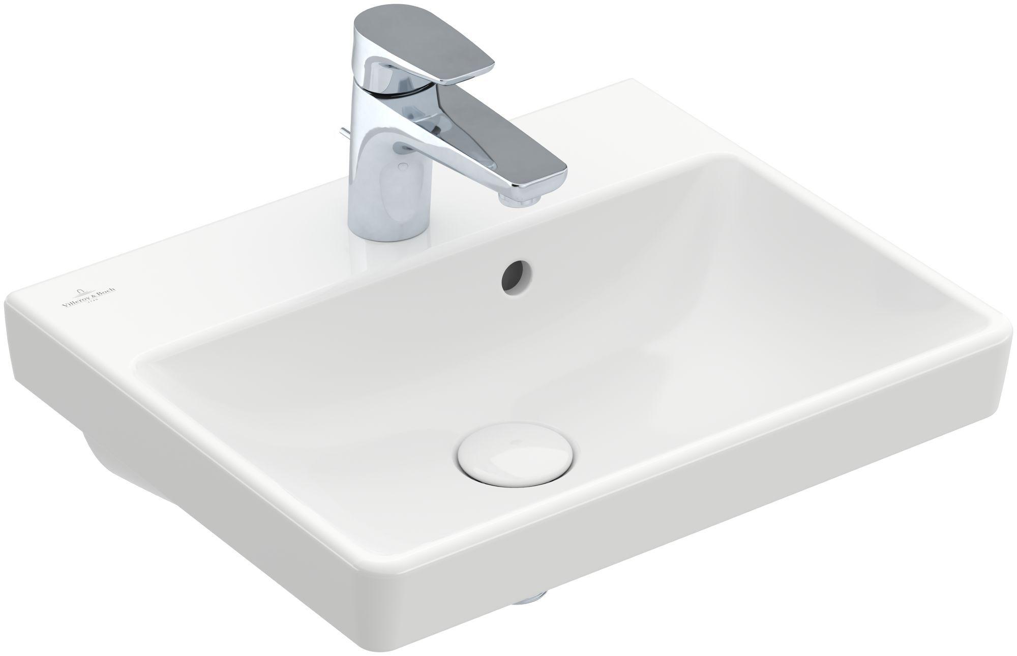 Villeroy & Boch Avento Waschtisch B:45xT:37cm 1 Hahnloch mit Überlauf weiß mit CeramicPlus 735845R1