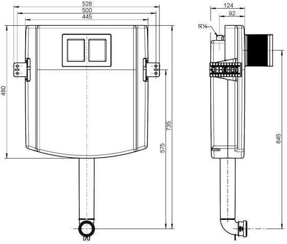 Villeroy & Boch ViConnect Unterputz-Spülkasten B:52,8xH:73,5xT:12,4cm 92248300