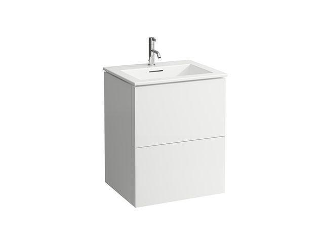Laufen Kartell by Laufen Waschtisch Slim mit Waschtischunterschrank B:60cmxH:72,6cmxT:50cm mit 2 Schubladen weiß matt H8603336401041