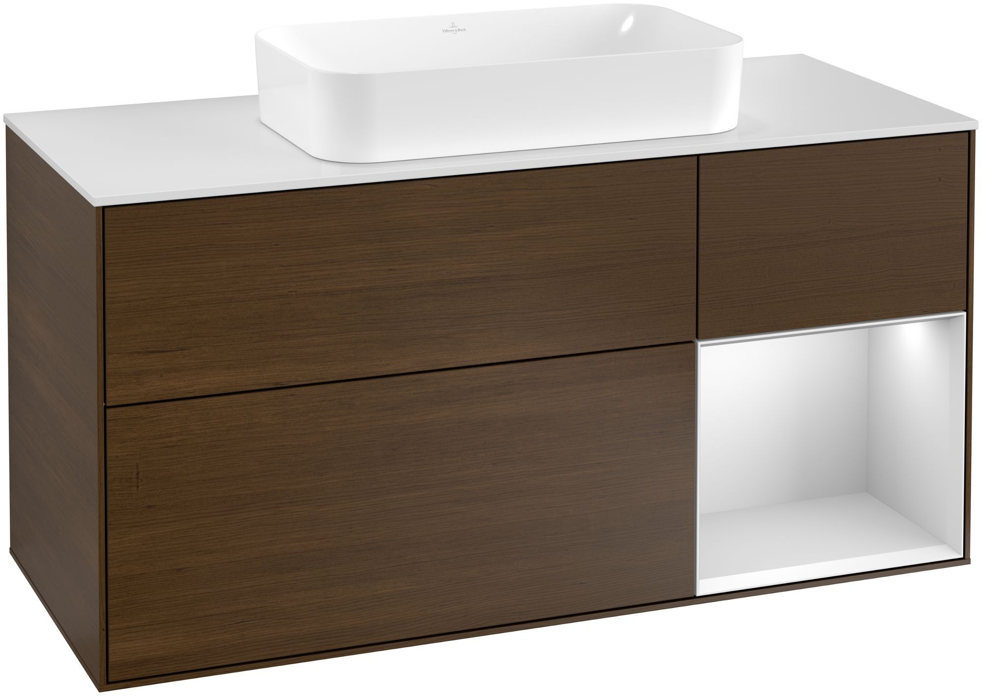Villeroy & Boch Finion G30 Waschtischunterschrank mit Regalelement 3 Auszüge Waschtisch mittig LED-Beleuchtung B:120xH:60,3xT:50,1cm Front, Korpus: Walnut Veneer, Regal: Weiß Matt Soft Grey, Glasplatte: White Matt G301MTGN