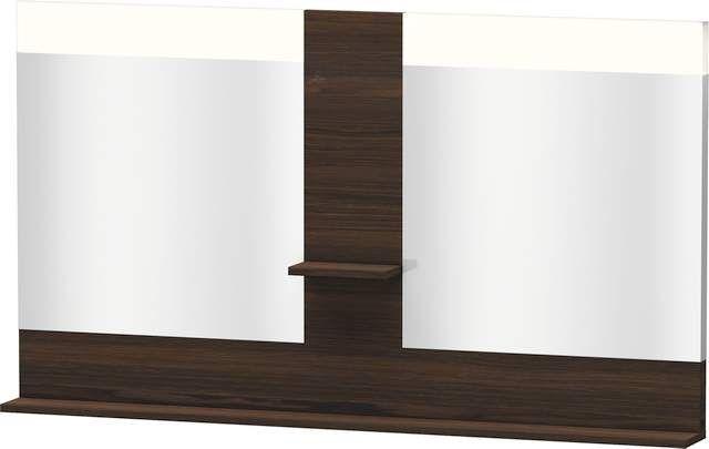 Duravit Vero Spiegel mit LED-Beleuchtung B:140xH:80xT:14,2cm mit Ablagen mittig und unten Nussbaum gebürstet VE736106969