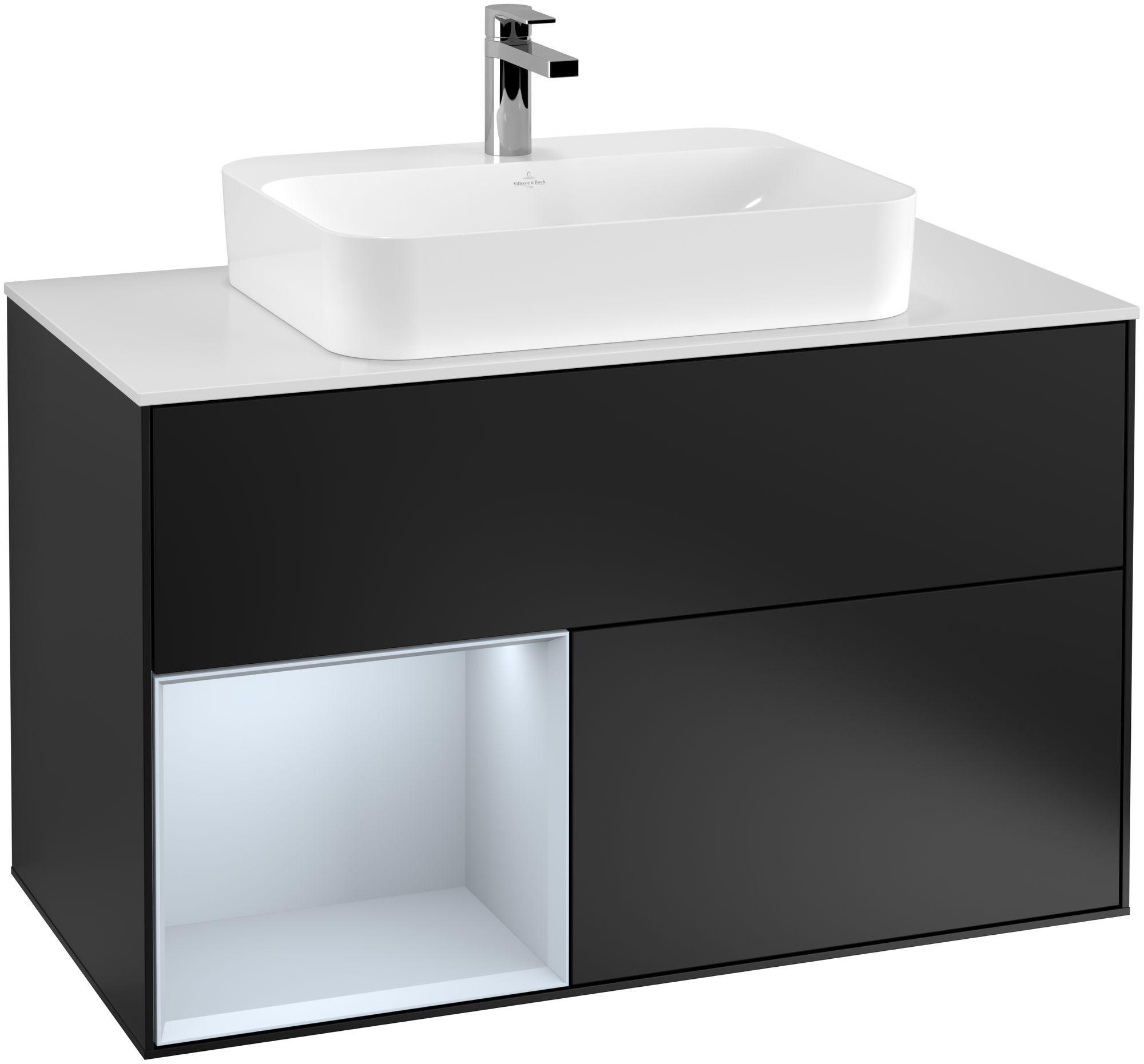 Villeroy & Boch Finion G36 Waschtischunterschrank mit Regalelement 2 Auszüge Waschtisch mittig LED-Beleuchtung B:100xH:60,3xT:50,1cm Front, Korpus: Black Matt Lacquer, Regal: Cloud, Glasplatte: White Matt G361HAPD