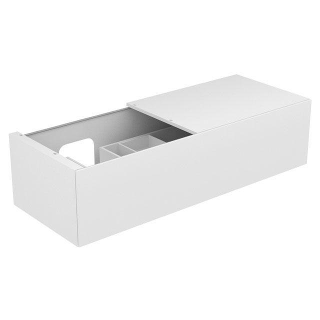 Keuco Edition 11 Waschtischunterbau mit 1 Auszug LED-Innenbeleuchtung Ablage rechts weiß/Glas weiß satiniert 31165270100