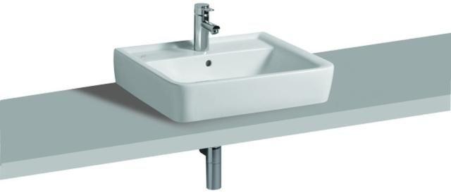 Geberit Keramag Renova Plan Aufsatzwaschtisch B:60xT:48cm 1 Hahnloch mit Überlauf weiß mit KeraTect 225160600