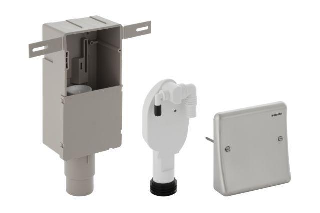 Geberit Unterputz-Geruchsverschluss mit 2 Anschlüssen Wandeinbaukasten und Abdeckplatte D50-56 152233001