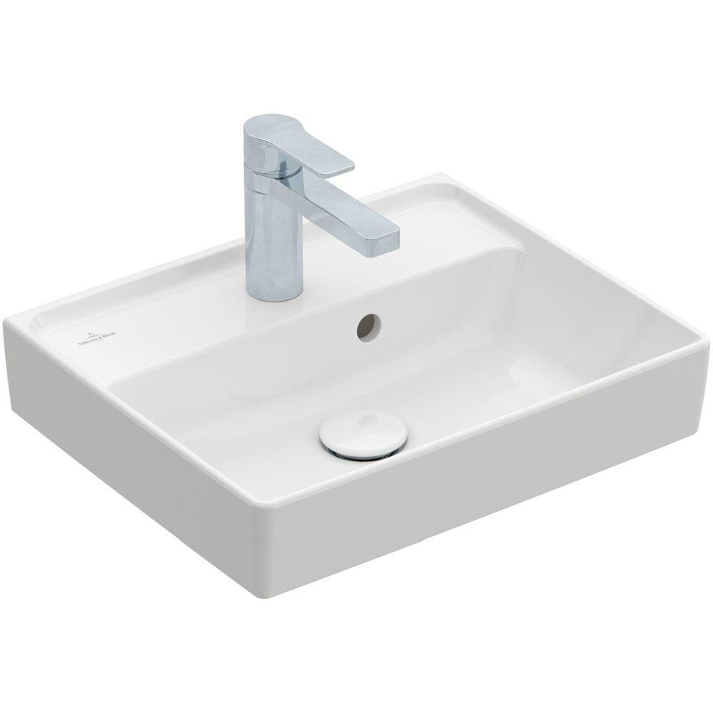 Villeroy & Boch Handwaschbecken Collaro, 450 x 370 mm, Rechteck, 1HL. mittleres Hahnloch durchgestochen, ohne Überlauf, ungeschliffen, Weiß Alpin 43344601
