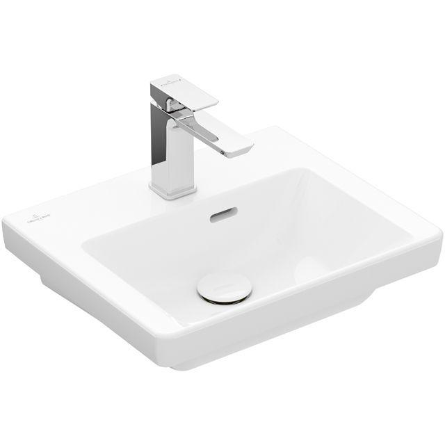 Villeroy & Boch Subway 3.0 Handwaschbecken 45x37cm rechteckig 1 Hahnloch ohne Überlauf Stone White mit CeramicPlus 437046RW