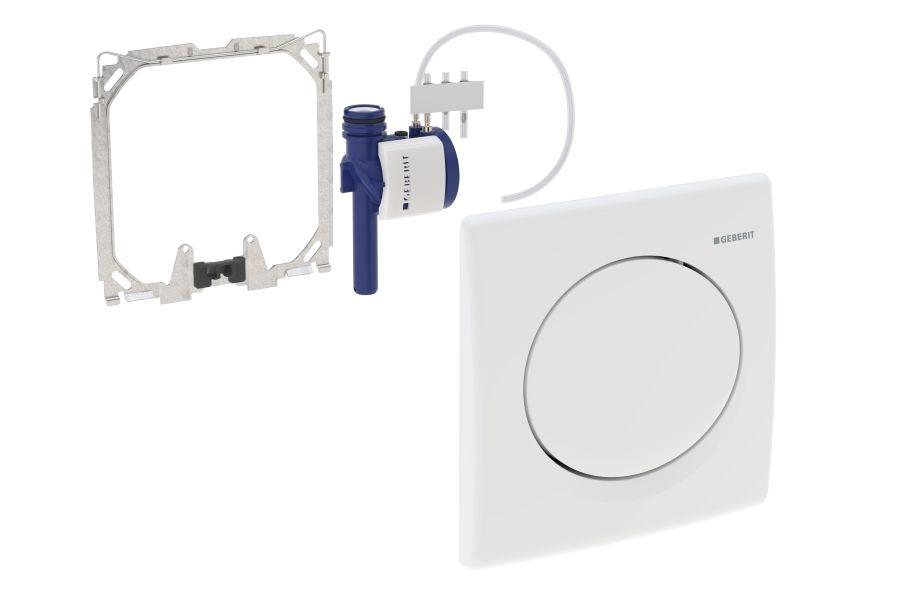 Geberit Urinal-Steuerung mit pneumatischer Spülauslösung Betätigungsplatte Kunststoff mattverchromt 115820465