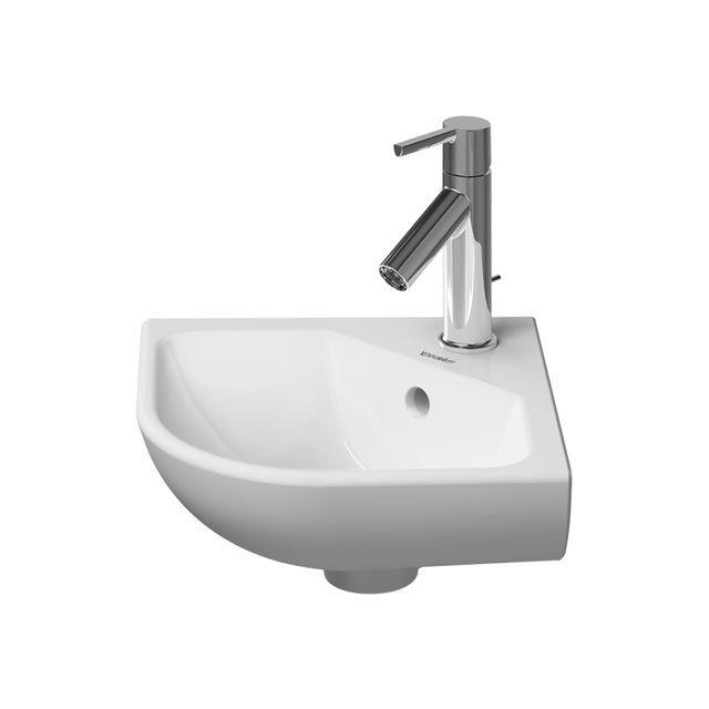 Duravit ME by Starck Eck-Handwaschbecken B:43xT:38cm 1 Hahnloch mittig mit Überlauf weiß 0722430000
