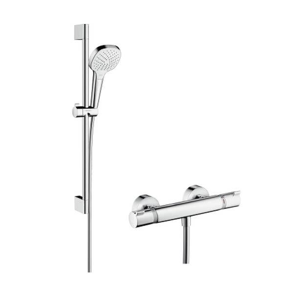 Hansgrohe Croma Select E Vario Brausegarnitur mit Ecostat Set 65cm weiß chrom 27081400