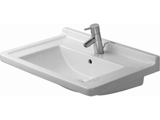 Duravit Starck 3 Möbelwaschtisch B:70xT:48,5cm 1 Hahnloch mittig mit Überlauf weiß 0304700000