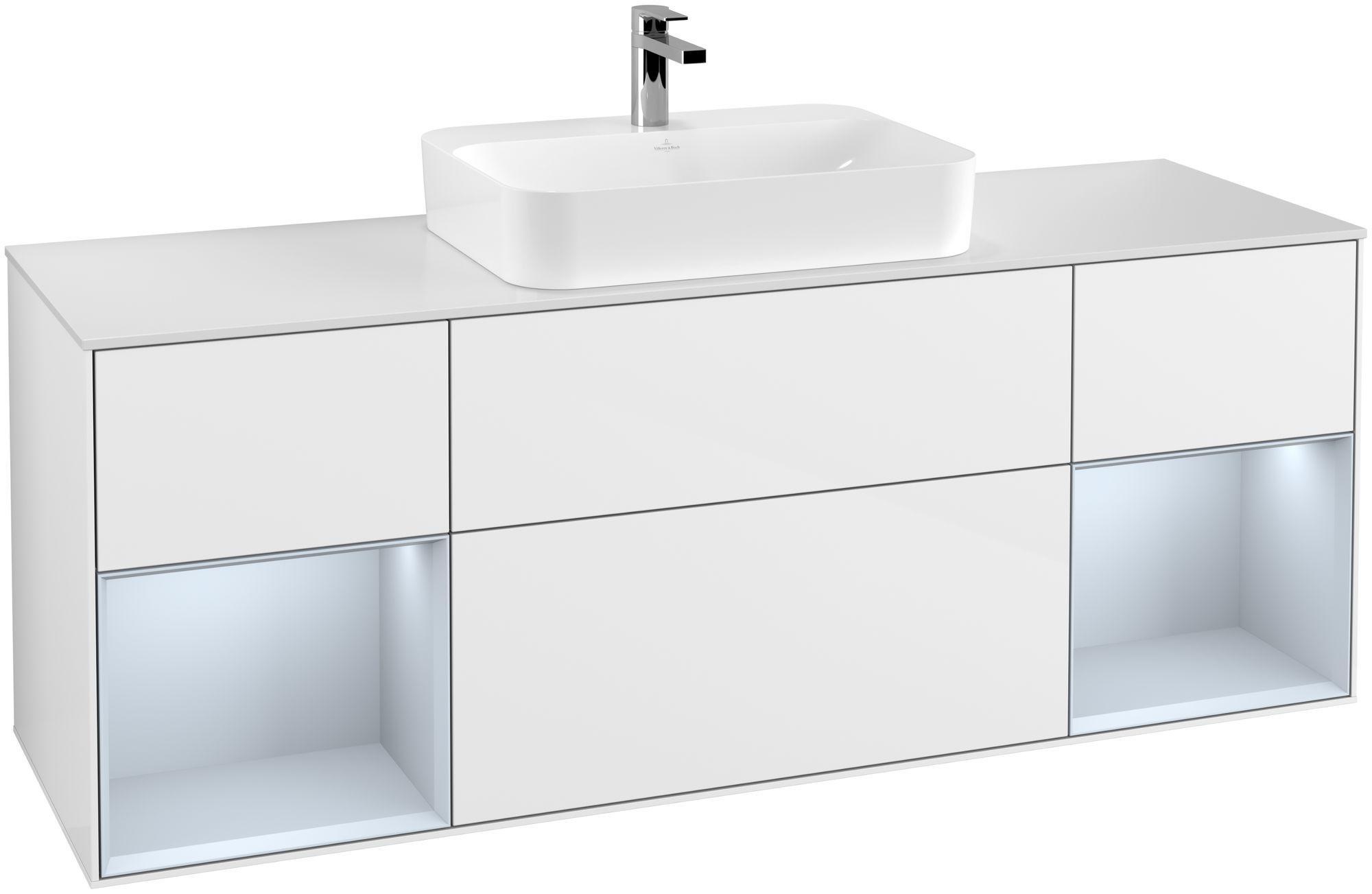 Villeroy & Boch Finion F45 Waschtischunterschrank mit Regalelement 4 Auszüge Waschtisch mittig LED-Beleuchtung B:160xH:60,3xT:50,1cm Front, Korpus: Glossy White Lack, Regal: Cloud, Glasplatte: White Matt F451HAGF