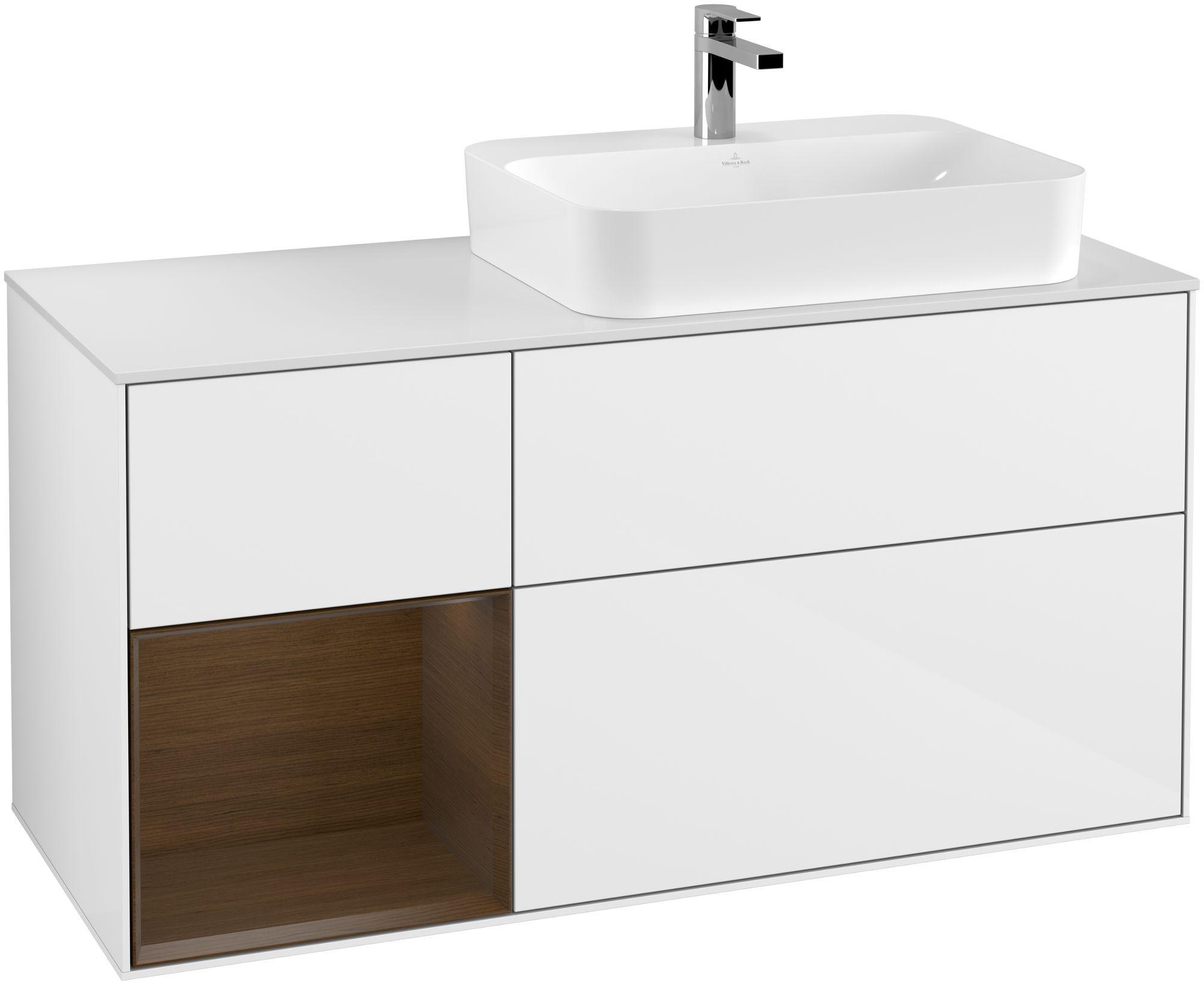 Villeroy & Boch Finion G39 Waschtischunterschrank mit Regalelement 3 Auszüge Waschtisch rechts LED-Beleuchtung B:120xH:60,3xT:50,1cm Front, Korpus: Glossy White Lack, Regal: Walnut Veneer, Glasplatte: White Matt G391GNGF