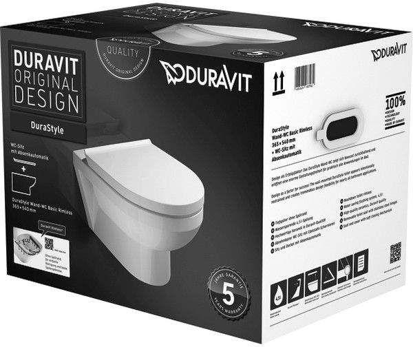 Duravit DuraStyle Basic Tiefspül-Wand-WC rimless ohne Spülrand L:54xB:36,5cm Set mit WC-Sitz weiß 45620900A1