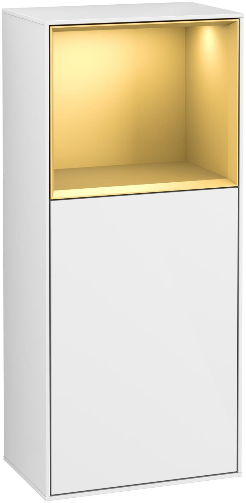 Villeroy & Boch Finion F52 Seitenschrank mit Regalelement 1 Tür Anschlag links LED-Beleuchtung B:41,8xH:93,6xT:27cm Front, Korpus: Glossy White Lack, Regal: Gold Matt F520HFGF