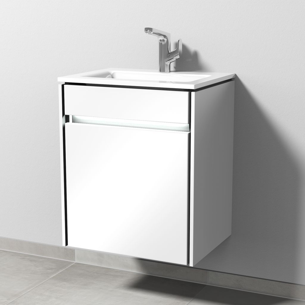 Sanipa Twiga Waschtischunterbau, Tür Rechtsanschlag, LED (SY237) H:60,5xB:51,5xL:39,5cm Macchiato-Matt SY23768
